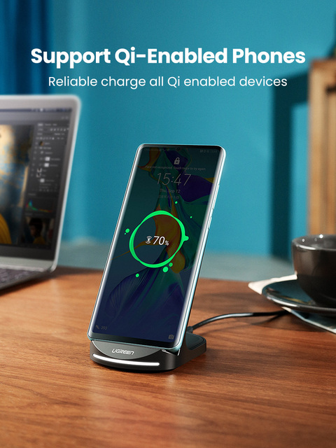 Ugreen Qi Wireless Charger Stand for iPhone 12 Pro X XS 8 XR Samsung S9 S10 S8 S10E Fast Wireless Charging Station Phone Charger 6