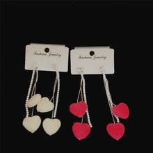 цена на Fashion Jewelry Lovely Women's Long Love Tassel Rhinestone Earrings Series Pink Beige Exquisite Earrings Party Jewelry