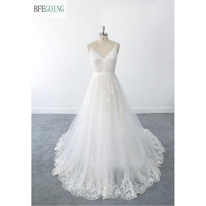 White Lace Tulle V-Neck Sleeves Spaghetti Straps  Floor-Length A-line Wedding Dress Chapel Train Custom Made