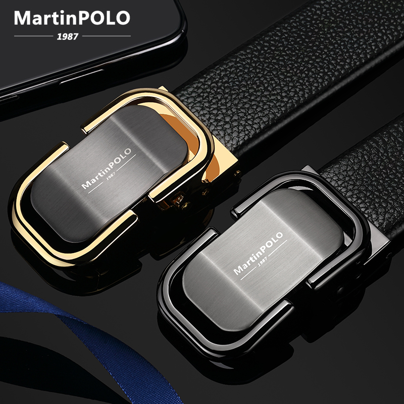 MARTINPOLO ceinture en cuir véritable hommes de luxe bracelet en peau de vache pour jean automatique boucle en alliage décontracté GG ceintures or noir MP00301P