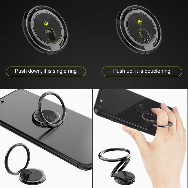Rotating Double Ring Lazy Bracket Phone Tablet Bracket Magnetic Car Mount Phone Holder CellPhone Stand Finger Ring Desk Bracket