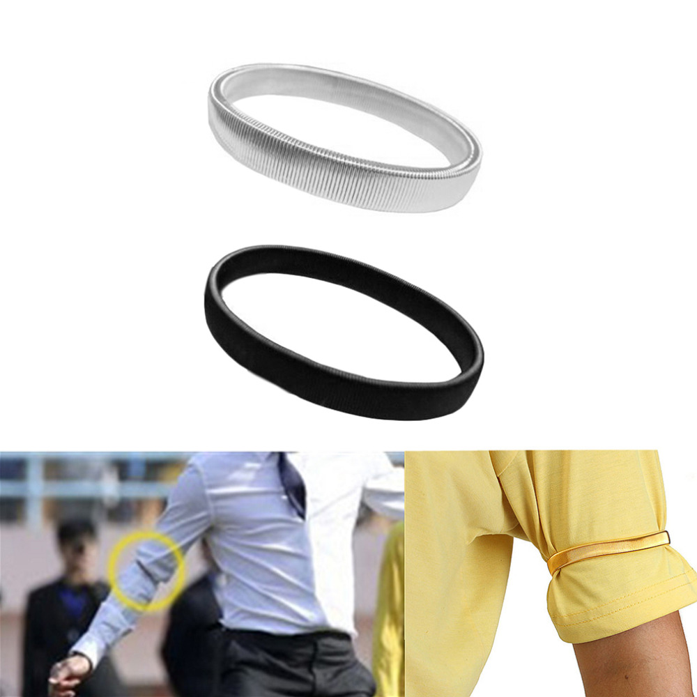 Men Shirt Sleeve Holder Casual Elastic Armband Antislip Metal Armband Stretch Garter Wedding Elasticate Armband Accessories