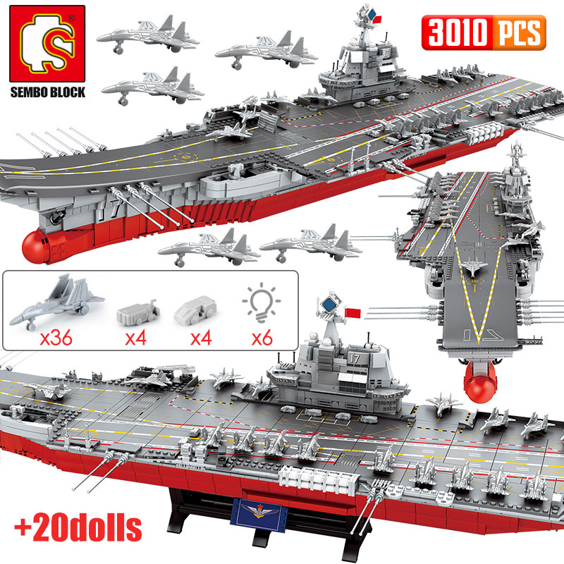 SEMBO 3010PCS WW2 Warship Cruiser Building Blocks Military City Police LED Lights Aircraft Carriers Bricks Toys For Boys