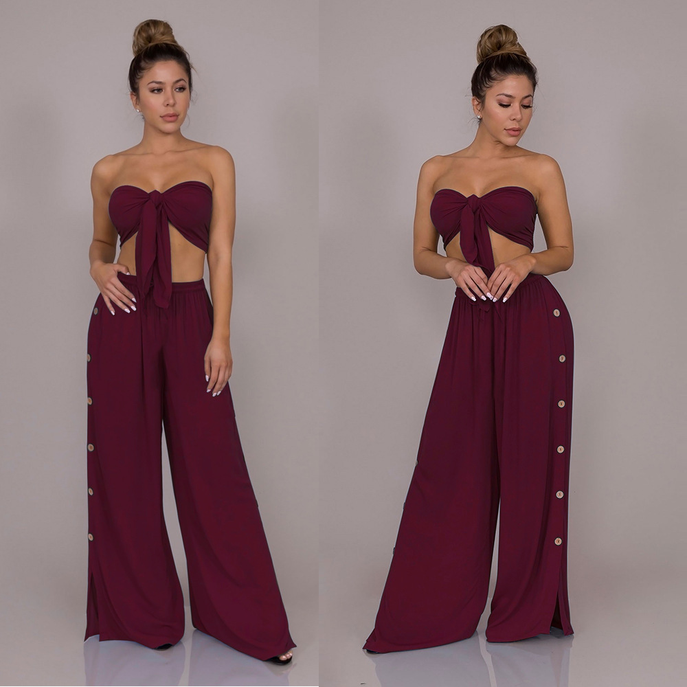 2020 Summer New Style WOMEN'S Dress Europe And America Sexy Midriff Loose Pants Two-Piece Set Leisure Suit S1081