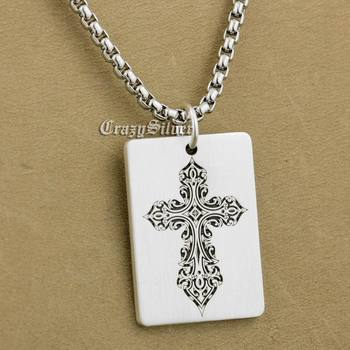 "925 Sterling Silver High Detail Deep Engraved Cross Dog Tag Mens Biker Rocker Punk Pendant 9X005 Necklace 26"""