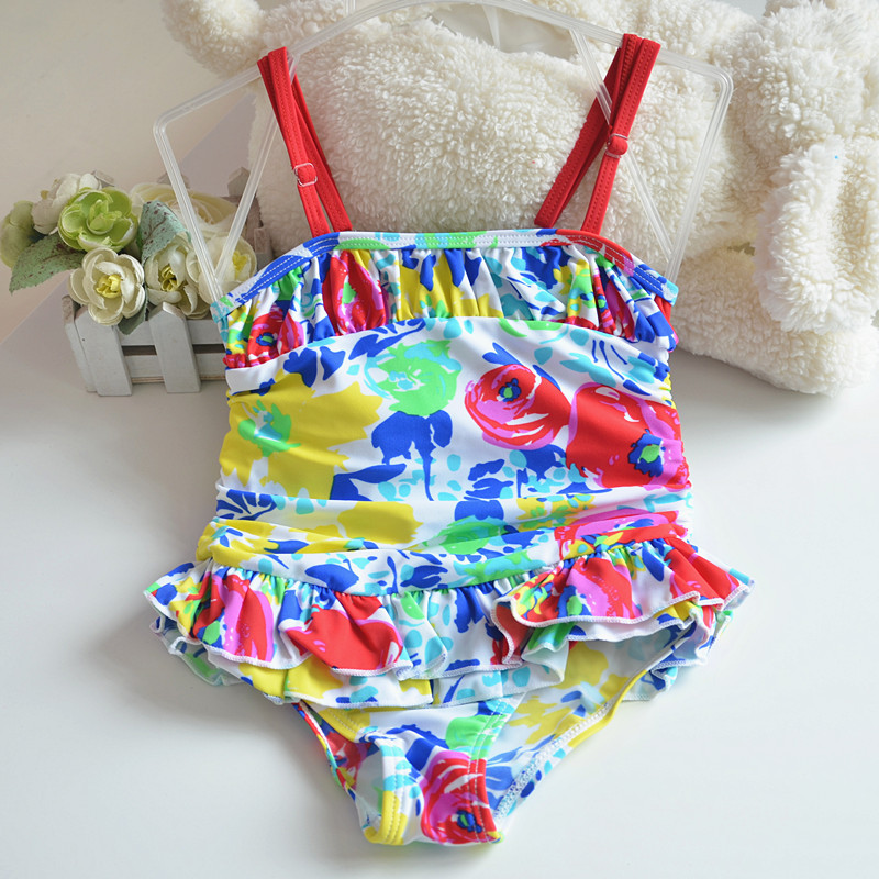 Micro Cute Flower Red Camisole One-piece Swimwear KID'S Swimwear Small Children GIRL'S-