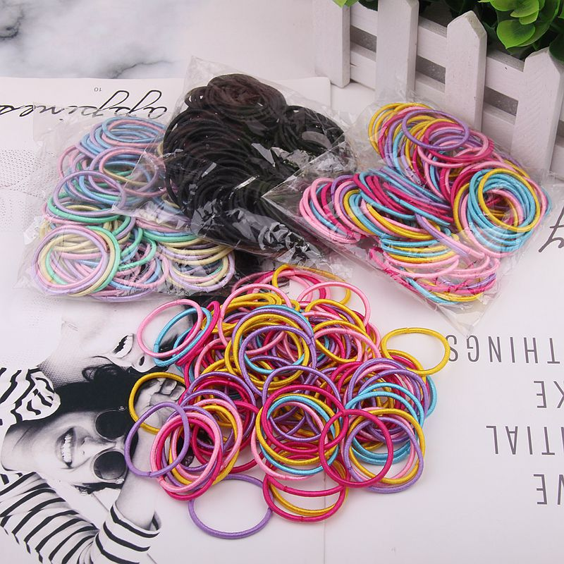 New 100PCS//Lot Girls Candy Colors Nylon 3CM Rubber Bands Children Safe Elastic