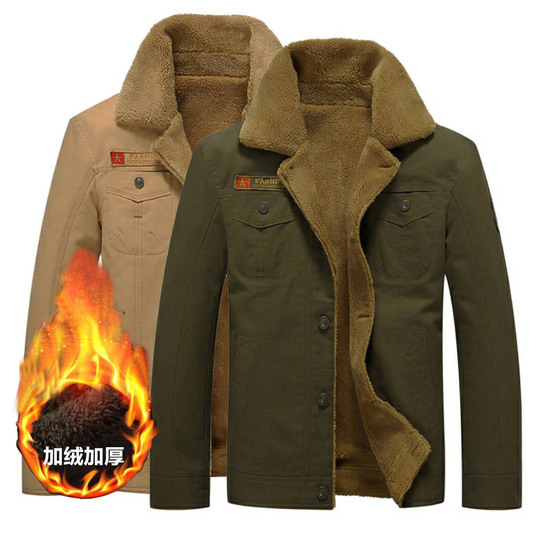 Cross Border For Autumn And Winter New Style Brushed And Thick Fold-down Collar Uniforms Workwear Jacket Cotton Coat Young MEN'S