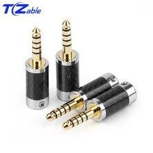 1PCS 오디오 커넥터 4.4mm 5 극 스테레오 커넥터 이어폰 남성 플러그 헤드폰 잭 솔더 케이블 금속 스플 라이스 어댑터