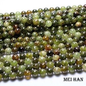 Image 2 - Meihan, оптовые натуральные (approx38beads/набор) 10 мм, зеленый Гарнетт, гладкие круглые свободные камни, бисер для изготовления ювелирных изделий своими руками