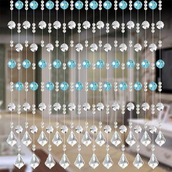 Zasłona z frędzlami koraliki kryształowe zasłona sznurkowa luksusowy salon okno sypialni drzwi dekoracje ślubne Valance Panel drzwi zasłony tanie i dobre opinie CN (pochodzenie) Glass Bead Curtains Bez pudełka na prezent Christmas decorations for home Fashion decorations