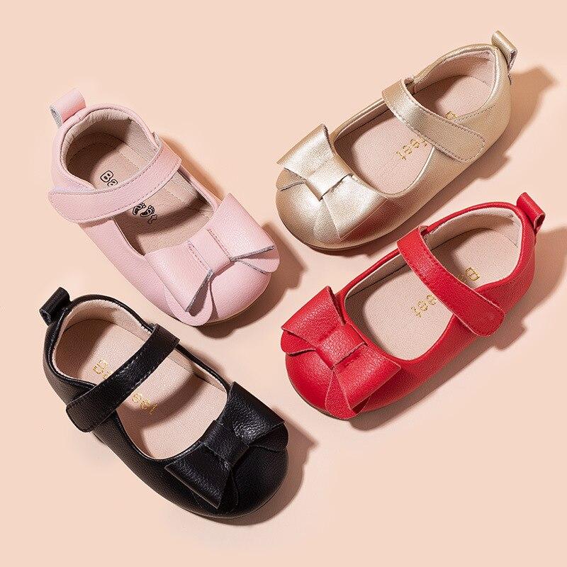 upscale couro genuino arco do bebe meninas sapatos moda danca sapatos princesa mocassins primeiro caminhantes do