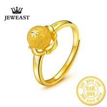 HMSS 24K خاتم الذهب النقي الصلبة ريال au999 زهرة نقل الخرز الإناث خاتم موضة رائعة رائجة البيع تصميم مقاوم