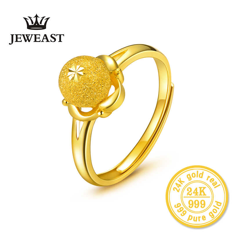 Hmss 24k Gold Ring Pure Solid Real Au999 Flower Translocation Beads Female Ring Fashion Exquisite Hot Sale Resizaeble Design Aliexpress