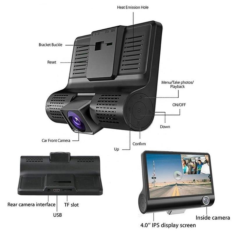 HD Night  Car Dvr Dash Cam 4.0 Inch Video Recorder Auto Camera 3 Camera Lens With Rear View Camera Registrator Dashcam DVRs 5