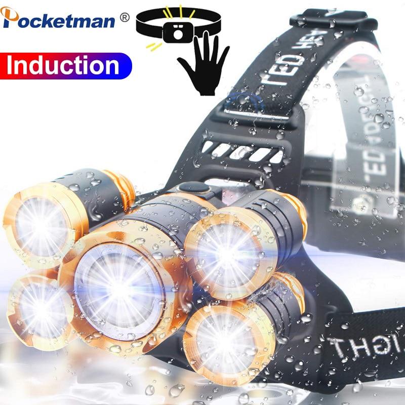 7000LM LED Headlamp Motion Sensor Fishing Headlight 3/5 LED T6 Head Torch LED Lamp Flashlight Camping Light Waterproof 2x 18650