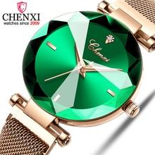 CHENXI ファッション 4 色宝石カットジオメトリクリスタル高級レディースクォーツ腕時計女性のドレス腕時計女性時計 zegarek damski