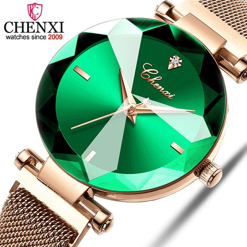 CHENXI Fashion 4 Colors Gem Cut Geometry Crystal Luxury Ladies Quartz Watches Womens Dress Watch Women Clock zegarek damskiWomens Watches   -