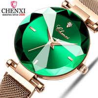 CHENXI moda 4 kolory Gem Cut geometria kryształ luksusowe panie zegarki kwarcowe zegarek damski zegarek damski zegarek damski
