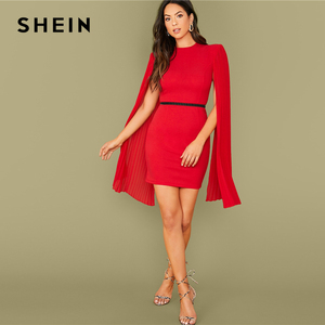 Image 5 - SHEIN Red Solid Pleated Cape Party Bodycon Dress Without Belt Women 2019 Autumn High Waist Cloak Sleeve Sexy Pencil Dresses