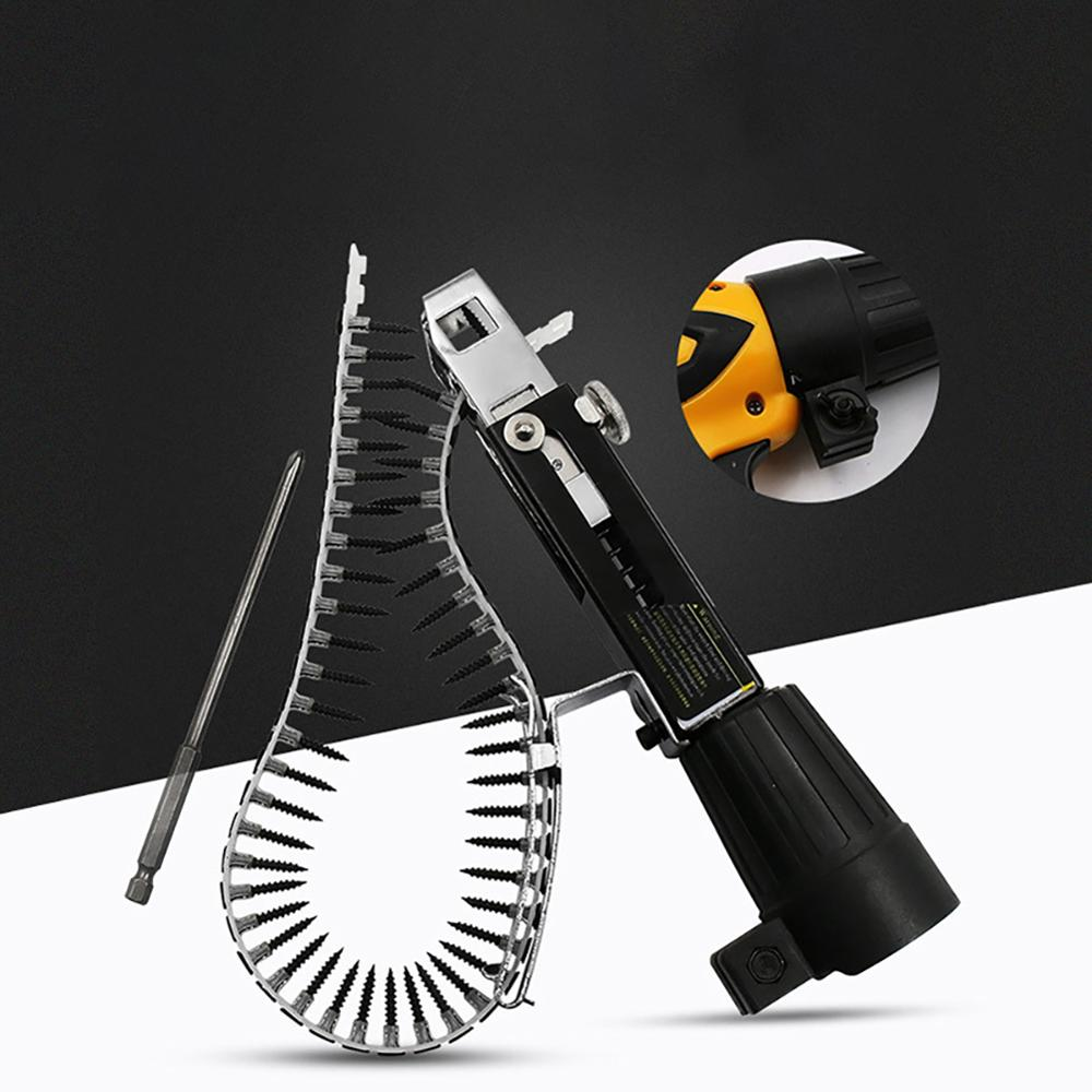 Electric New Automatic Screw Chain Nail Gun Adapter Screw Spike Drill Woodworking Tool Automatic Nail Gun Electric Screwdriver