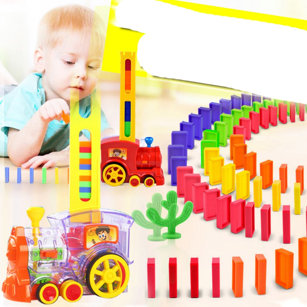 Children's Domino Train Car With Sound Light Automatic Emission Set Blocks Elevator Springboard Bridge Set kids Educational Toys