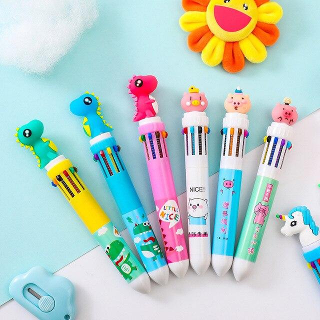 10 Colors Cute Rabbit Ballpoint Pen Kawaii Multicolor Ball Pen Cartoon Dinosaur Pen For Kids Girls Gifts School Stationery
