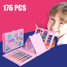 176 PCS Watercolor Drawing Art Marker Brush Pen Set Children Painting Art Set Tools Kids For Gift Box Office Stationery Supplies faber castell 30colors cute creative colorful crayons connector watercolor pen set for children drawing art stationery supplies