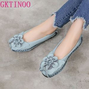 GKTINOO 2020 Soft Genuine Leather Flat Shoes Women Flats with Flowers Ladies Shoes Women Designers Loafers Slip On