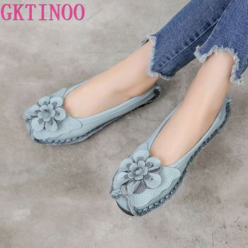 GKTINOO 2020 Soft Genuine Leather Flat Shoes Women Flats with Flowers Ladies Shoes Women Designers Loafers Slip On genuine leather wedges slip on shoes women flats loafers wedge casual height increasing flat walking shoes plus size 34 40