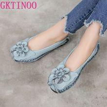 GKTINOO 2020 本革のフラットシューズ女性フラット花女性の靴女性デザイナーで