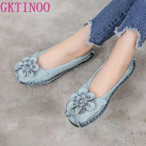 Image 1 - أحذية مسطحة من الجلد الطبيعي الناعم من GKTINOO 2020 للنساء أحذية بدون كعب مزخرفة بالزهور للنساء أحذية بدون كعب للنساء