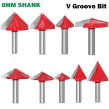 1 pc 8mm shank 60 90 120 150 graus v groove roteador de madeira bit carboneto sólido end mill ferramentas para trabalhar madeira