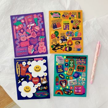 Korean Ins Retro Cartoon Bear Cute stickers labels Mobile Phone IPad Creative Personalized Diy Decorative Sticker stationery - discount item  24% OFF Stationery Sticker