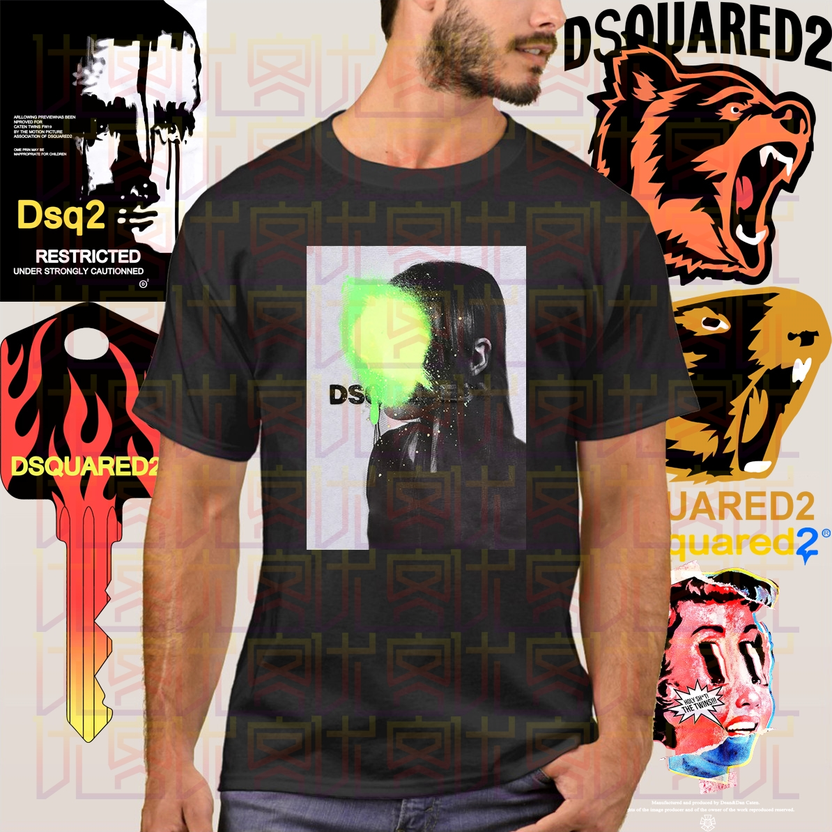 New Dsq2 T-Shirt Short Sleeve Slim Fit Printed Logo Printed Tee Unisex Size S-3X For Men Tops  O Neck Cotton Tees Tops-