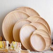Домашний китайский круглый резиновый деревянный поднос из цельного
