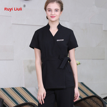 SPA Workwear 2pcs Sets Spring/Summer Beige Massage Work Uniform Female Hospital Nurse Uniforms Wholesales Beauty Clothing