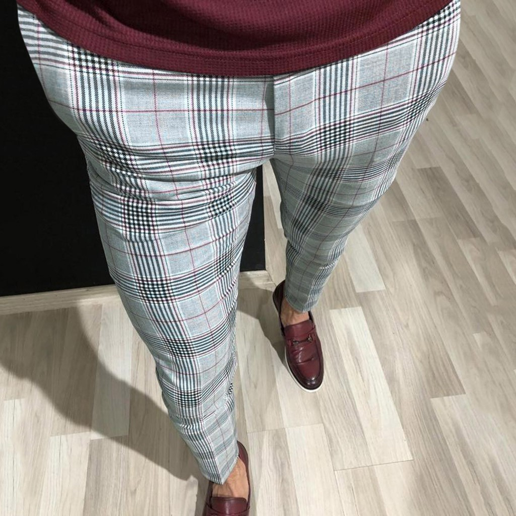 MOUTEN Mens Zipper Plaid Check Elastic Waist Fashion Athletic Drawstring Long Pants