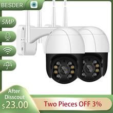 Kamera BESDER 2MP PTZ WiFi Zewnętrzna wodoodporna kamera IP bezpieczeństwa Dwukierunkowy dźwięk 3MP Detekcja ruchu Mini nadzór wideo
