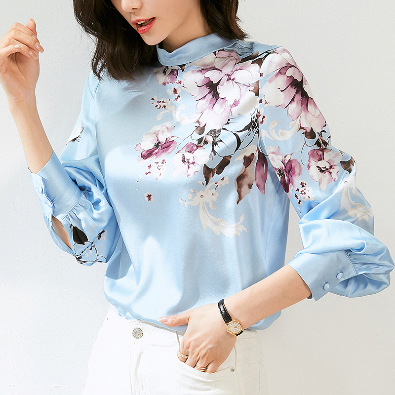 Elegant Fashion Real Silk Women's Casual Shirt Spring Autumn Stand Collar Long Sleeve Loose Floral Print Lady Satin Blouse Tops|Blouses & Shirts| - AliExpress
