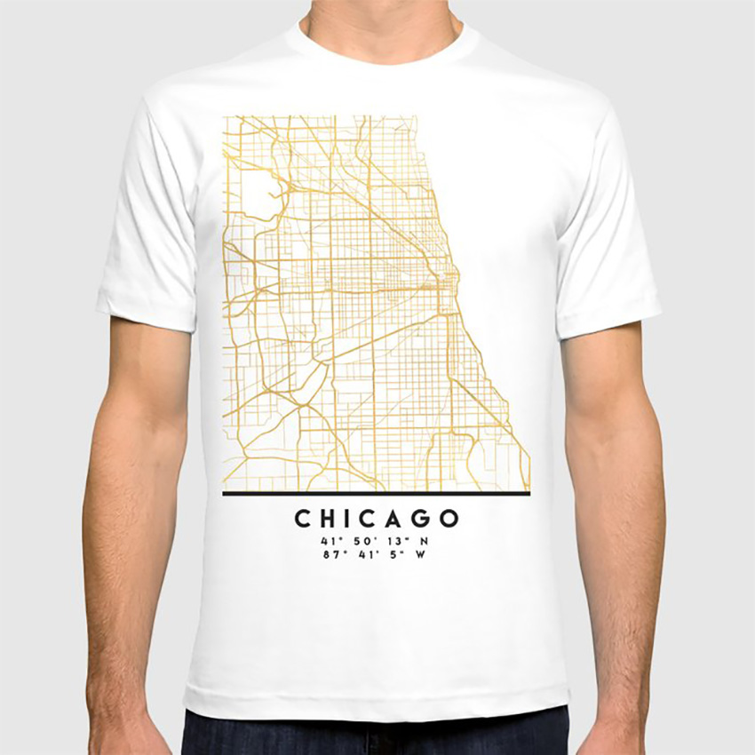Chicago <font><b>Illinois</b></font> City Street Map Art T Shirt Stencil Chicago <font><b>Illinois</b></font> Downtown Street Map Coordinates Souvenir Gold Gift image