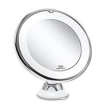 Зеркало для макияжа с 10-кратным увеличением светильник кой, вращающееся на 360 градусов, мощная присоска