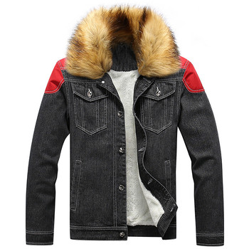 KIMSERE Men's Fleece Lined Warm Jean Jackets With Fur Collar Thicken Thermal Denim Coats For Man Outerwear Plus Big Size S-6XL