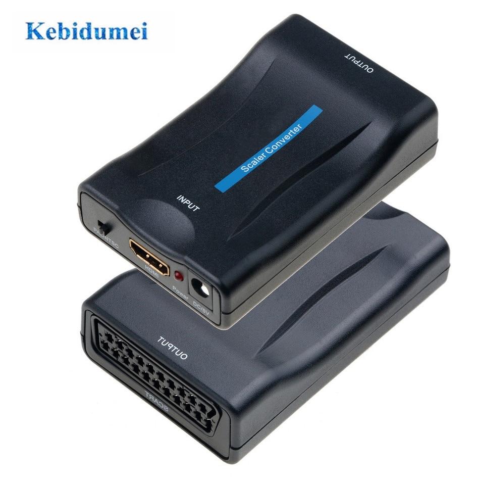 Haudang Euroconector a 1080P 60 Hz SCART Plug and Analog a Digital Conversor Box Video Audio Scart support PAL//NTSC//SECAM para PS4//PS3//TV//DVD