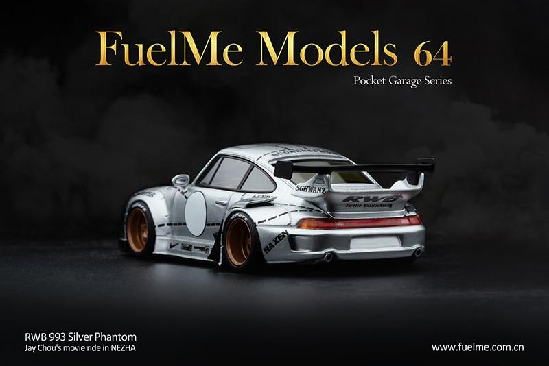 Modelo de carro de resina phantiom de prata rwb 993 fuelme 1:64