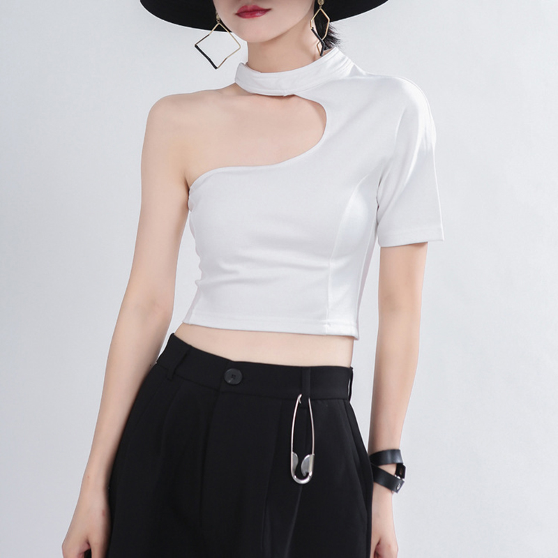 [EAM] Women White Hollow Out Split Brief Short T-shirt New Round Neck Short Sleeve Fashion Tide  Spring Summer 2021 1T754