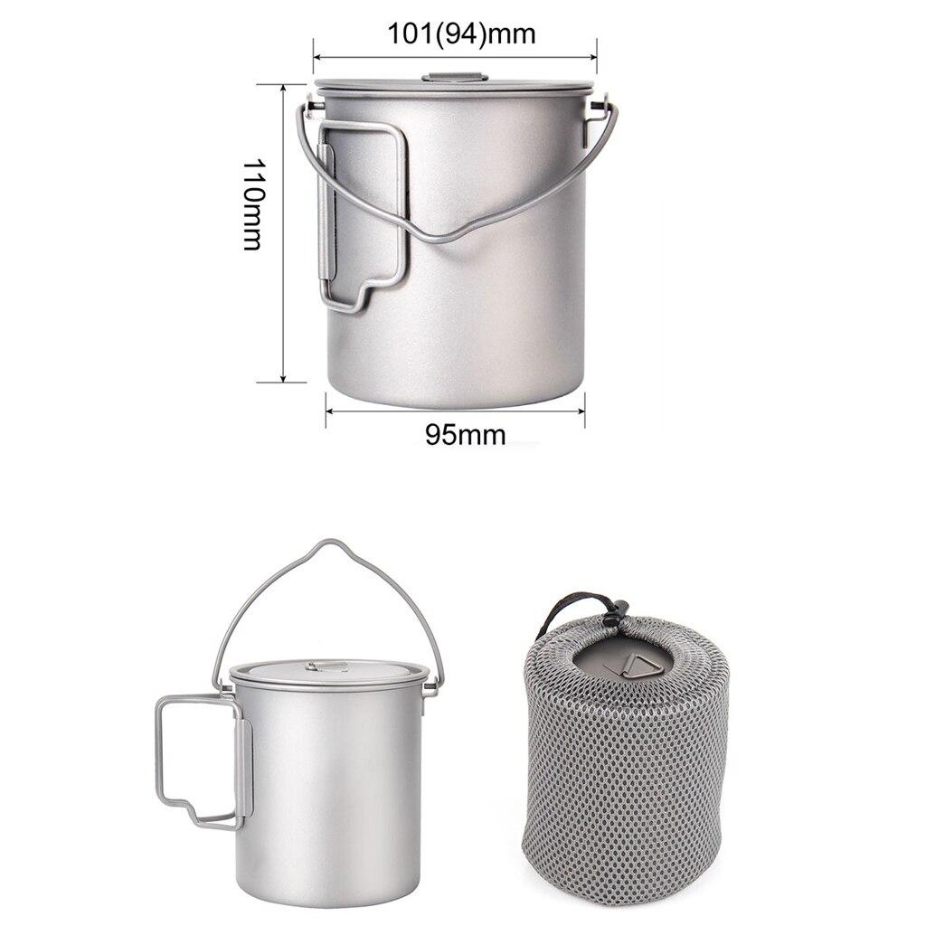 titanio cozinhar pote acampamento ao ar livre caminhadas mochila stockpot 750ml