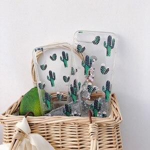 Image 4 - الأخضر بوتاني الصبار نمط السائل الرمال المتحركة جراب هاتف آيفون 11 مجموعة برو ماكس x xr xs 8 7 6 6s زائد silversand شفافة