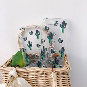 Image 4 - สีเขียว Botany รูปแบบแคคตัส Liquid quicksand Case โทรศัพท์สำหรับ iPhone 11 Lot PRO MAX x XR XS 8 7 6 6 S PLUS silversand โปร่งใส