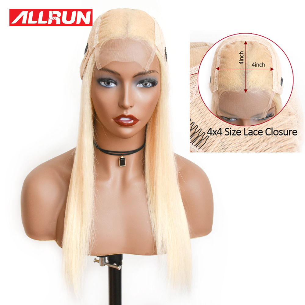 Allrun 613 4*4 Lace Closure Human Hair Wigs Blonde Color 613 Lace Wig Remy Peruvian Straight Human Hair Transparent Lace Wig
